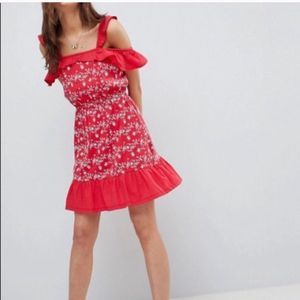 ASOS Red Eyelet Ruffle Shoulder Dress Size 6 NWT